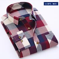 20春秋季格子衬衫男士长袖修身磨毛寸衫休闲衬衣男装加厚不加绒