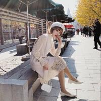 连衣裙女早秋装长款马甲加外搭两件套装裙子初秋季