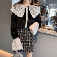 №【2019新款】冬天年轻人穿的翻领蕾丝拼接喇叭袖气质衬衣复古宽松丝绒长袖衬衫上衣女 黑色 均码