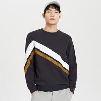 【全场2件2.5折,到手价:112.3】MECITY男装2019春季新款运动针织套头衫卫衣
