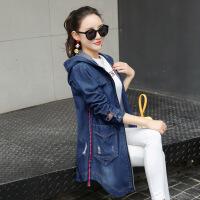 春秋新款韩版牛仔外套女中长款连帽破洞大码女装外套 图片色长袖 5X