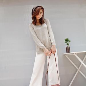 时尚镂空针织衫2018秋季女装新款圆领套头长袖毛衫中长款上衣女