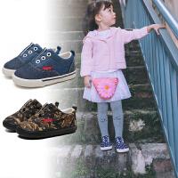【618大促-每满100减50】卡特兔2018新品一脚蹬帆布鞋宝宝休闲鞋男女儿童板鞋防滑易穿脱