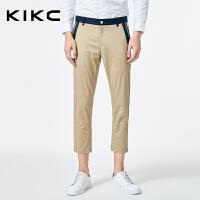 kikc九分裤男2018秋季新款韩版青少年时尚纯色小脚休闲裤子男