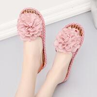 女士拖鞋夏季室内室外防滑软底韩版家居家亚麻家用厚底外穿凉托鞋