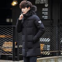 施衣品冬季男士羽绒服外套 韩版修身中长款纯色羽绒服 潮流男装外套