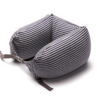 无印u型枕头良品护颈枕汽车旅行枕记忆枕颈椎枕飞机枕夏 蓝色粗条纹