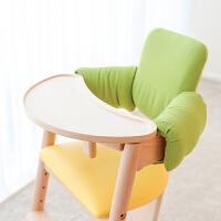 预售婴儿餐桌椅宝宝吃饭椅子多功能实木儿童座椅婴幼儿日本 黄色餐椅+绿色靠垫