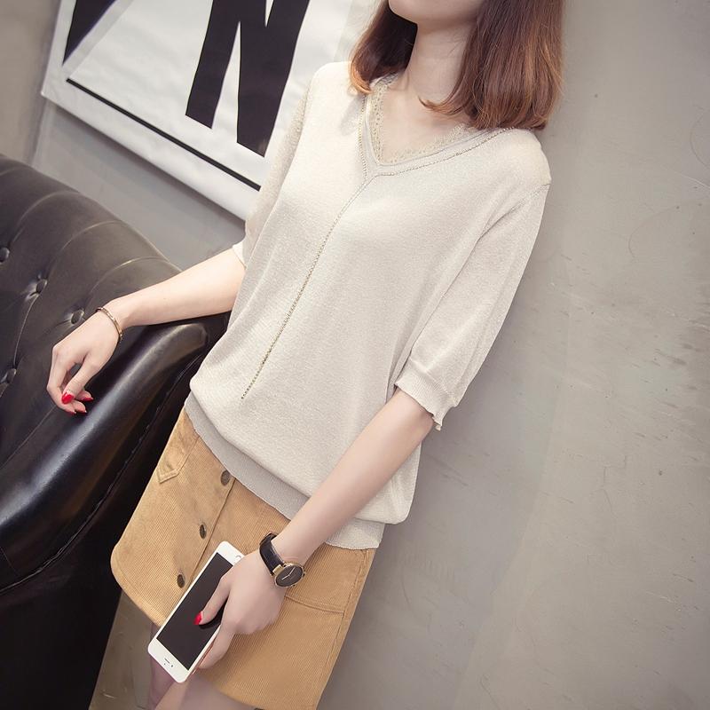 亮丝冰丝T恤女短袖2018夏季新款韩版宽松蕾丝V领针织半袖体恤上衣