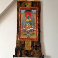 西藏藏传佛教用品 手编布镀金(烫金)藏密唐卡佛像 绿度母长125cm
