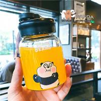 日系卡通软萌熊小巧玻璃水杯男女情侣带杯套水瓶学生可爱随手杯子