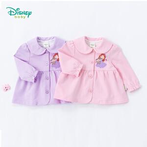 迪士尼Disney童装娃娃领女童外套秋装新款纯棉宝宝衣服索菲娅公主荷叶袖小孩上衣183S1041