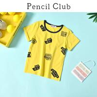【2件3折:32.7】铅笔俱乐部童装2020夏季男童短袖T恤中大童套头T恤男孩休闲上衣