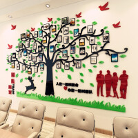 相片墙办公室装饰贴画团队励志3d立体亚克力墙贴公司企业墙面贴纸 红色+黑色+浅绿色 超