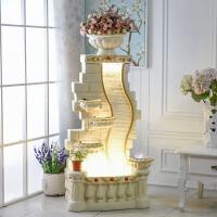 欧式喷泉招财鱼缸装饰假山流水结婚礼品加湿器创意大型落地摆件 黑色 80394米白色