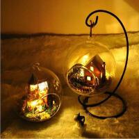 创意diy小屋潘多拉魔法屋手工房子模型送男女友爱人生日礼物 玻璃屋+铁架+声控灯+工具一套
