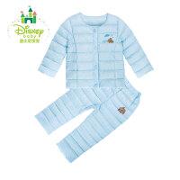 迪士尼Disney儿童羽绒服男女童加厚冬季保暖套装宝宝前开扣外出服154T640
