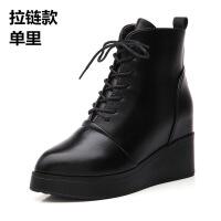 短靴女冬秋2018新款欧美尖头内增高加绒中跟厚底靴子坡跟及踝单靴软底