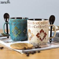 创意大容量手绘陶瓷杯子个性办公室带盖勺马克杯咖啡牛奶情侣水杯