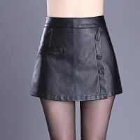 2017秋冬新款皮裤裙女高腰显瘦大码包臀皮短裤假两件裙裤阔腿裤