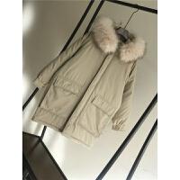 女中长款学生冬季ins面包服棉袄加厚外套潮 米白色 棉斜纹