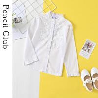 【3件2折:43.8】铅笔俱乐部童装2020春装新款女童衬衫中大童休闲长袖儿童纯色衬衣