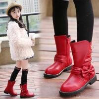 2018秋冬新款高筒靴女童靴子中大童蝴蝶结马丁靴儿童冬款长靴加绒