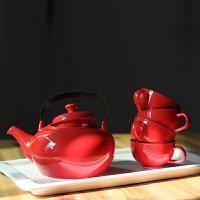 陶瓷茶具水具 咖啡茶壶茶杯带托盘乔迁喜庆红茶具结婚*盒套装 红色 6件