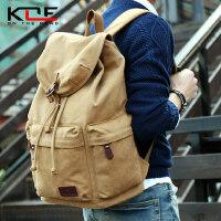 韩版初中大学生书包复古电脑背包大容量旅行包男包男士帆布双肩包