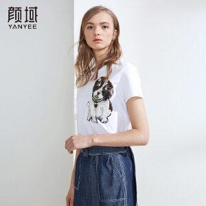 颜域品牌女装短袖上衣t恤女2018新款宽松白色动物绣花圆领体恤