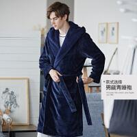 欧卡蔻冬季男士睡袍藏青灰双色长袖男士中长款睡衣可外穿冬季外套