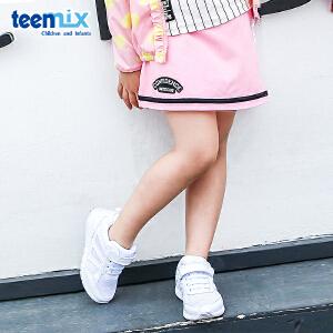 【清仓特惠】天美意teenmix童装女童刺锈短裙2018春季新款儿童休闲时尚运动裙子 CZ0068