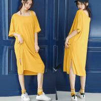 莫代尔宽松T恤女短袖胖mm大码显瘦夏季纯色露肩中长款连衣裙 均码