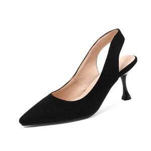 WARORWAR法国 2019新品YGN020-H06-5夏季韩版磨砂绒面高跟尖头后空女鞋潮流时尚潮鞋百搭潮牌凉鞋女