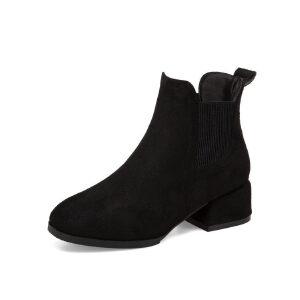 WARORWAR新品YM161-AQ7秋冬欧美粗跟低跟女士靴子短靴