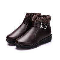 妈妈棉鞋女冬季保暖加绒中老年人妇女冬天鞋子女平底棉靴中年短靴