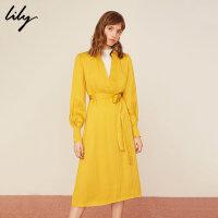 【25折到手价:299.75元】 Lily春新款女装商务舒适衬衫领长款系带连衣裙119110C7222