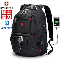 瑞士军士刀男士户外旅行电脑背包瑞士军刀双肩包男休闲大容量书包