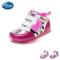 迪士尼Disney童鞋17冬季儿童运动鞋米妮公主鞋女童户外休闲鞋天鹅绒保暖高帮鞋 (5-10岁可选)