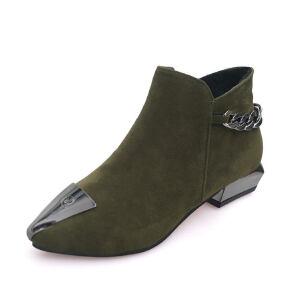 WARORWAR新品YM89-MC-17冬季欧美低跟鞋舒适女士靴子裸靴