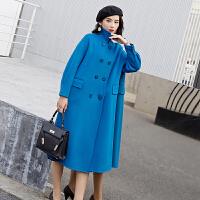 韩版矮个子气质宽松复古赫本风森系蓝色红色黄色双面呢大衣女中长款宝蓝色2018新款羊毛呢外套INS超火 S (80-11