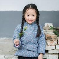 儿童棉衣女童2018新款冬装女童复古碎花小棉袄宝宝加厚唐装外套 蓝色 蓝底小碎花