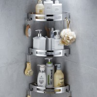 居家三脚架洗澡浴室打孔免钉304免卫生间3层壁挂间三角形 置物架