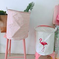 韩国北欧风少女心可折叠棉麻火烈鸟脏衣服收纳篮 布艺杂物收纳筐