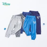 【99元3件】迪士尼Disney童装 宝宝休闲长裤夏季新品男童防蚊裤米奇印花空调裤家居裤