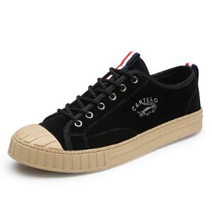 卡帝乐鳄鱼秋季新款男鞋贝壳鞋潮流学生运动休闲鞋板鞋黑色男鞋子