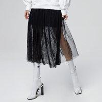 【全场2件2.5折,到手价:52.5】美特斯邦威半身裙女网纱裙子春秋装两件韩版长裙气质仙新款