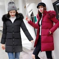 羽绒女中长款2018冬装新款韩版修身外套加厚棉衣可脱卸帽棉袄