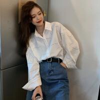 白色�L袖�r衣�O�感小��r衫女春季2020新款�n版�凸鸥畚��松上衣