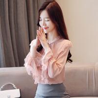 秋装新款女2018新款韩版荷叶边雪纺衬衫长袖秋款衣服蕾丝衬衣秋季